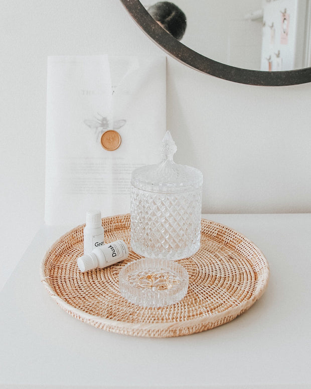 Round Hand Woven Rattan Plate - Olive and Iris