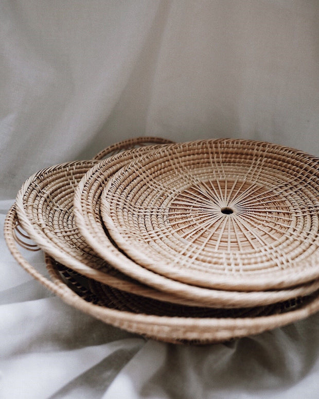 Round Handwoven Rattan Plate & Margarita Rattan Coasters Holiday Set - Save $5