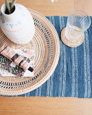 Sierra Indigo Handwoven Cotton Table Runner | Olive & Iris