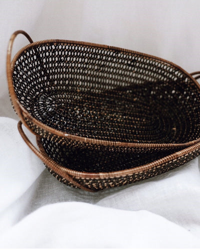 Small Black Rattan Basket - Olive and Iris