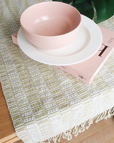 Vintage Hand Woven Table Runner, Throw | Olive & Iris