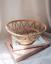 Violette Black Stripes Handwoven Rattan Basket