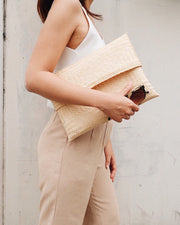 Hand woven bamboo clutch - Olive and Iris