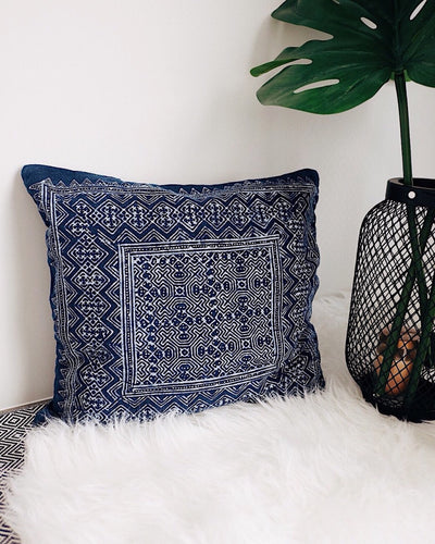 Vintage Hmong Hill Tribe Cushion Cover No.4 - Olive & Iris