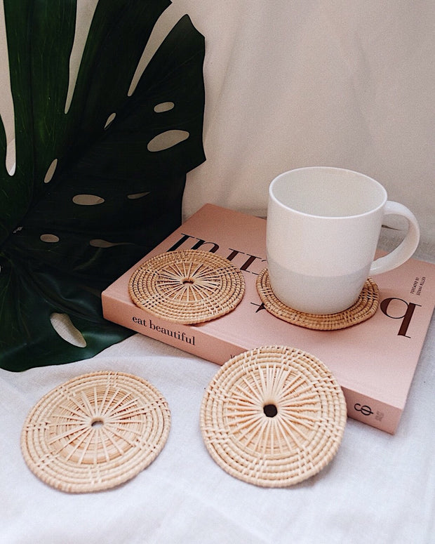 Hand woven rattan coasters - Olive and Iris