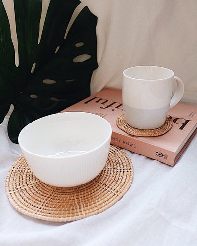 Hand woven rattan placemats and coasters - Olive and Iris