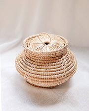 Rattan Storage Box with Lid - Olive & Iris