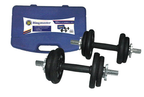 RINGMASTER 20KG DUMBBELL SET WITH CARRY CASE - Club Medical