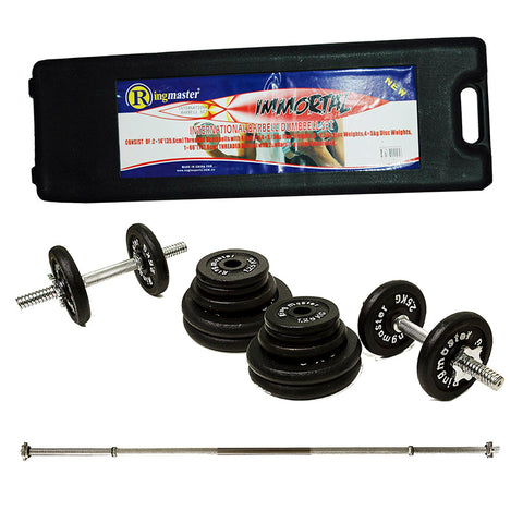 RINGMASTER 50KG WEIGHT SET WITH 1PC BAR AND CARRY CASE - Club Medical
