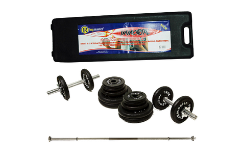 RINGMASTER 50KG WEIGHT SET WITH 1PC BAR AND CARRY CASE