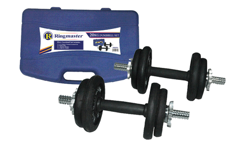 RINGMASTER 20KG DUMBBELL SET WITH CARRY CASE