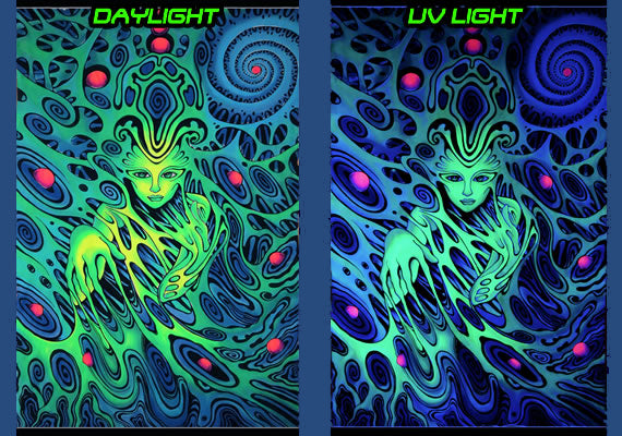 UV/blacklight psychedelic wall hanging - Psychedelic spirit trippy tapestry