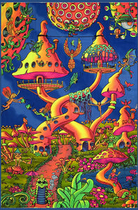 uv UV/blacklight psychedelic wall hanging - Elf party trippy tapestry