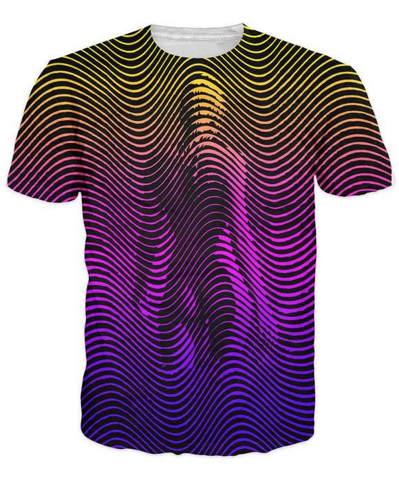 Men optical illusion trippy psychedelic T - shirt UNIVIBE