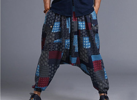 Univibe Men wide leg tribal indian style trousers - harem pants