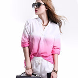 Women's hot selling GRADIENT long sleeve blouse 2018 BLUE /PINK
