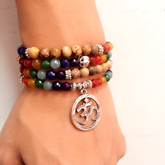Univibe Buddhist hot selling meditation OM symbol 108 beads bracelet