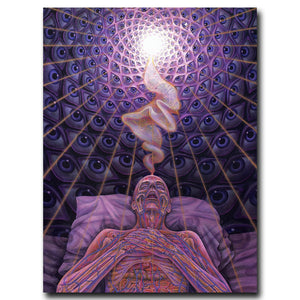 Univibe Trippy Alex Grey Art Silk Fabric Psychedelic Poster Print