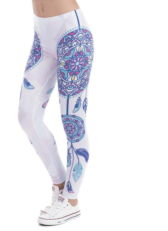 Women white dreamcatcher yoga leggings univibe clothing