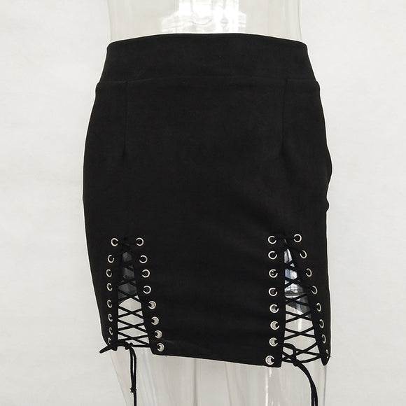 Psytrance festival high waist mini lace up skirt