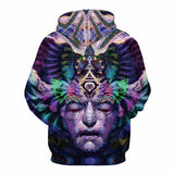 Unisex Hooded psychedelic trippy meditation  third eye sweater