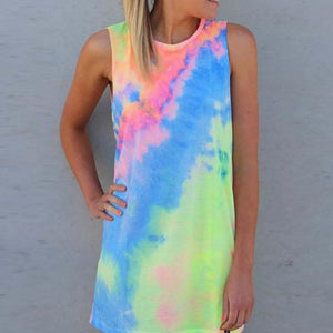 Univibe clothing Tie dyed women Summer sleavless dress