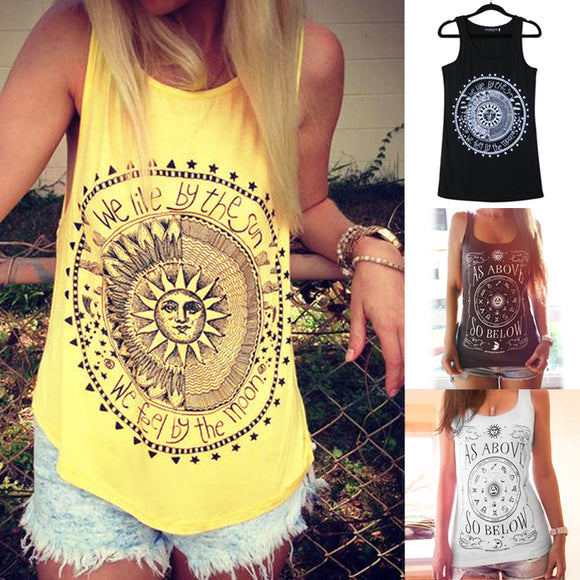 Women's bohemian tyle, bohemian fashion SUN & MOON summer beach tank top