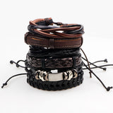 Men's leather boho hippie bracelt 6pcs/ SET