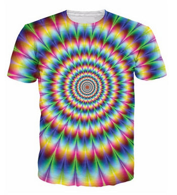 Men swirling optical illusion trippy psychedelic T-shirt
