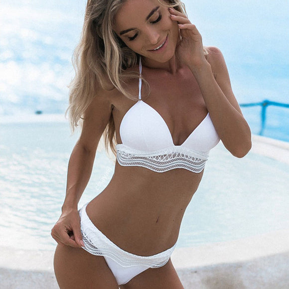 univibe Sexy bohemian white push up bikini set 2018