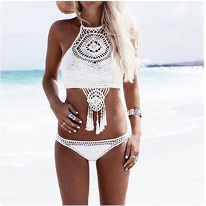 univibe hot New arrival!! Trending in 2018 knitted bohemian padded bra bikini set