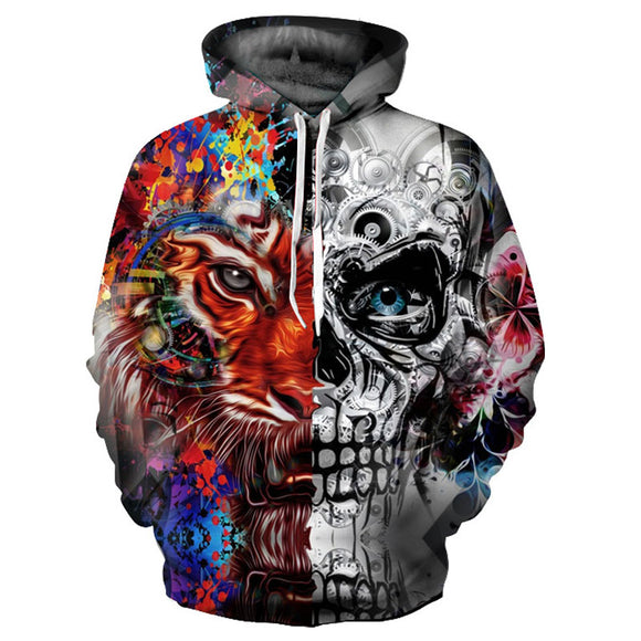 Univibe Unisex Psychedelic Tiger-Skull hooded sweater
