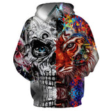 Unisex Psychedelic Tiger-Skull hooded sweater