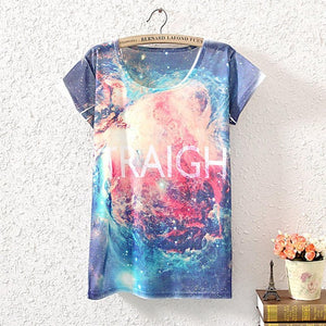 NEW ARRIVAL Women's colorful boho style 3D GALAXY  T-shirt - multiple variations
