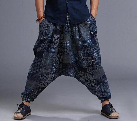 Univibe Men wide leg linen psytrance festival  tribal trousers - harem pants
