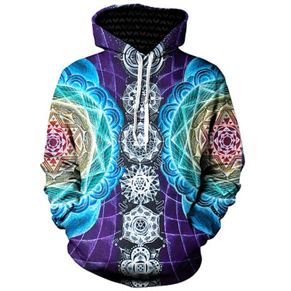 Men Psychedelic trippy Chakra hoodie Univibe Mens trippy psychedelic geometric zipper hoodie