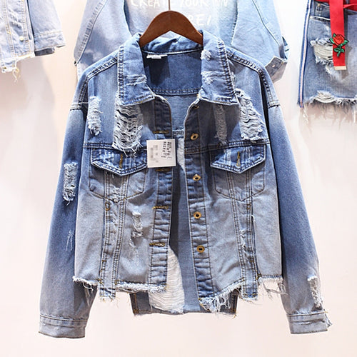 Bohemian denim ripped jacket