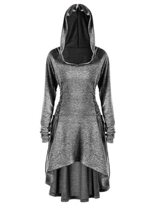Univibe Women Psytrance lace up long sleeve hoddie dress Plus Size 5XL