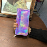 Geometric psychedelic luminous trippy zipper card holder wallet