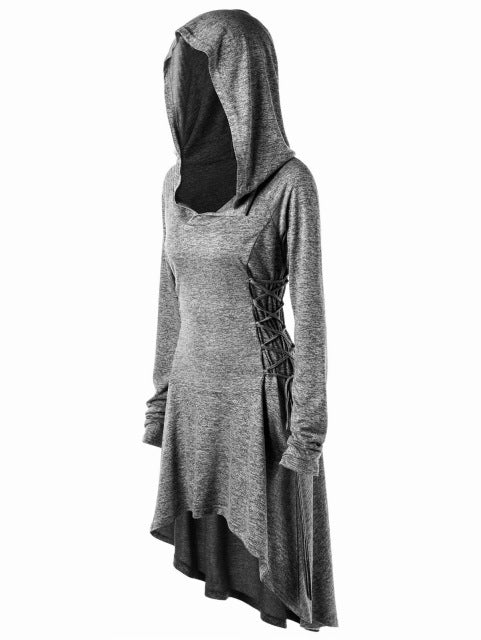 Women Psytrance lace up long sleeve hoddie dress Plus Size 5XL
