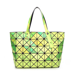 Geometric psychedelic luminous trippy tote bag