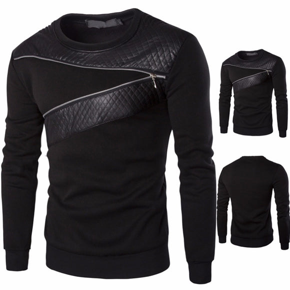 Men's  streetwear Zipper long sleeve Pullover