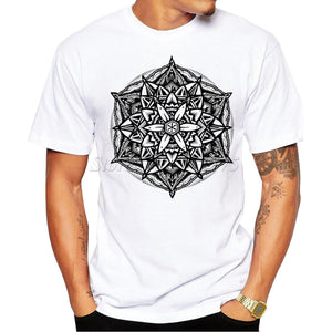 Univibe clothing Fashion Men's Summer Geometry Flower of life T Shirt