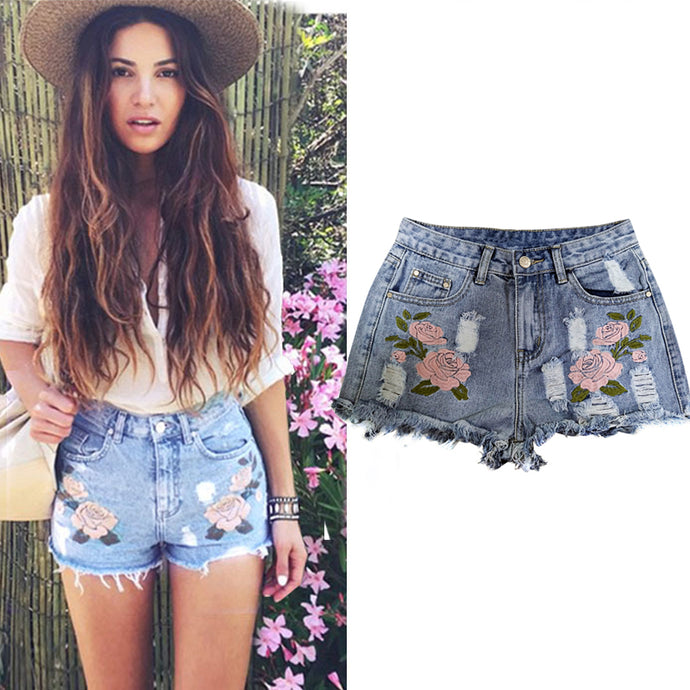 Univibe Floral Embroided  high waisted boho Ripped Denim Shorts