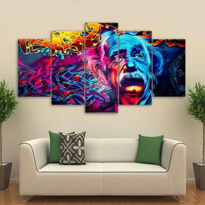 HOT SELL! 5 printed Pieces of trippy psychedelic wall art printed Albert Einstein canvas paintings