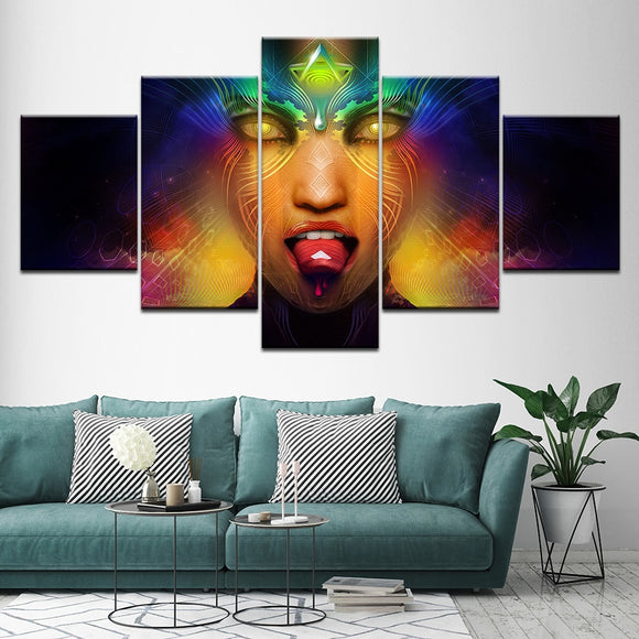 NEW ARRIVAL! 5 printed pieces of psychedelic LSD trippy canvas Painting univibe online shop