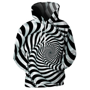 NEW! Men's trending optical illusion fractal hoodie trippy psychedelic clothing