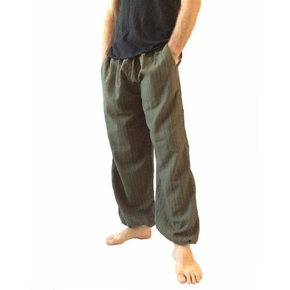 Mens bohemian psytrance festival wide leg cotton pants