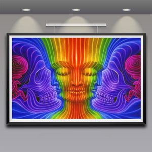 Psychedelic trippy  silk fabric poster