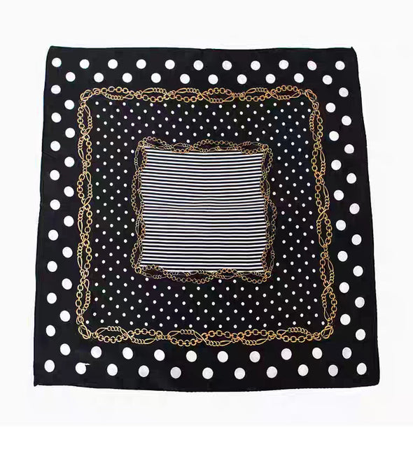 Black Dotted 100% Silk Scarf